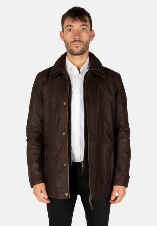 BUFFALO DARK BROWN LEATHER PARKA