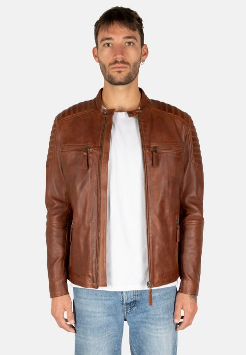 S-W STRIPES BROWN LEATHER JACKET
