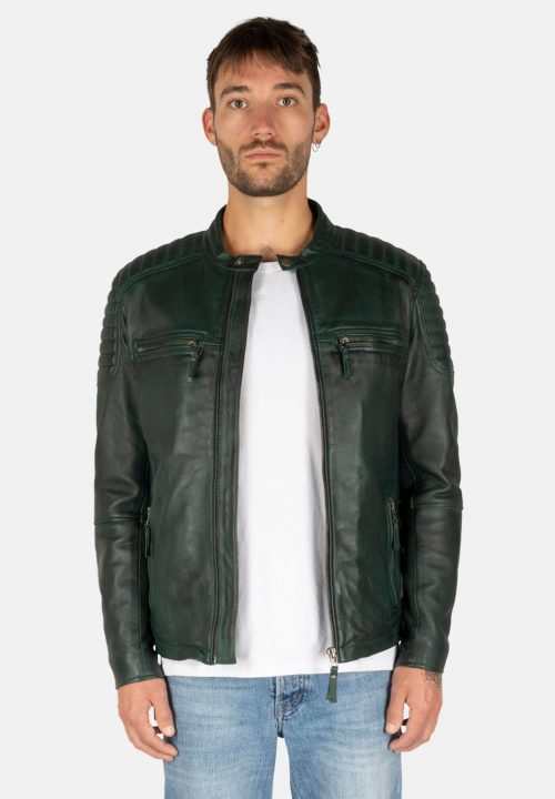 S-W STRIPES GREEN LEATHER JACKET