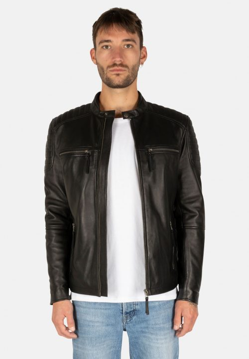 S-W STRIPES BLACK LEATHER JACKET