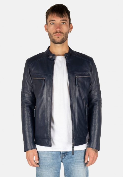 JONES ROYAL BLUE LEATHER JACKET