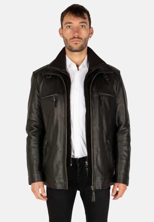 FLEX BLACK LEATHER PARKA