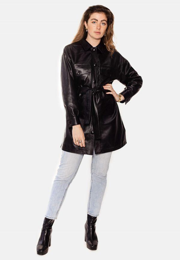 Jyalin black leather coat