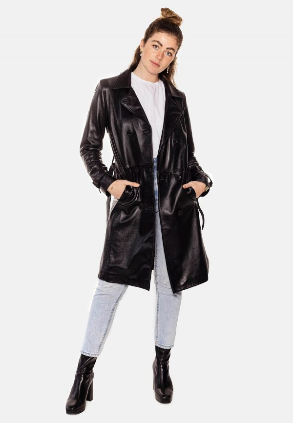 black long leather coat