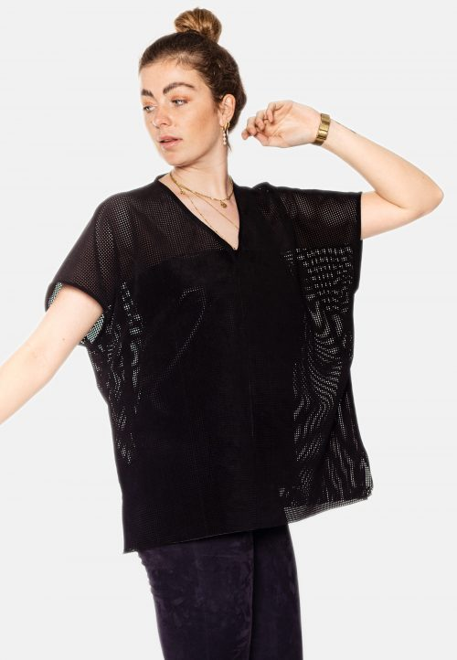 RILEY OVERSIZED SUEDE BLOUSE – BLACK