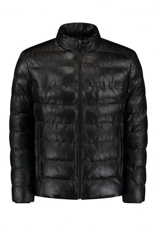 Short leather puffer VENUSIO- black